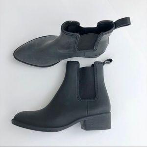 Black matte rain riding ankle bootie